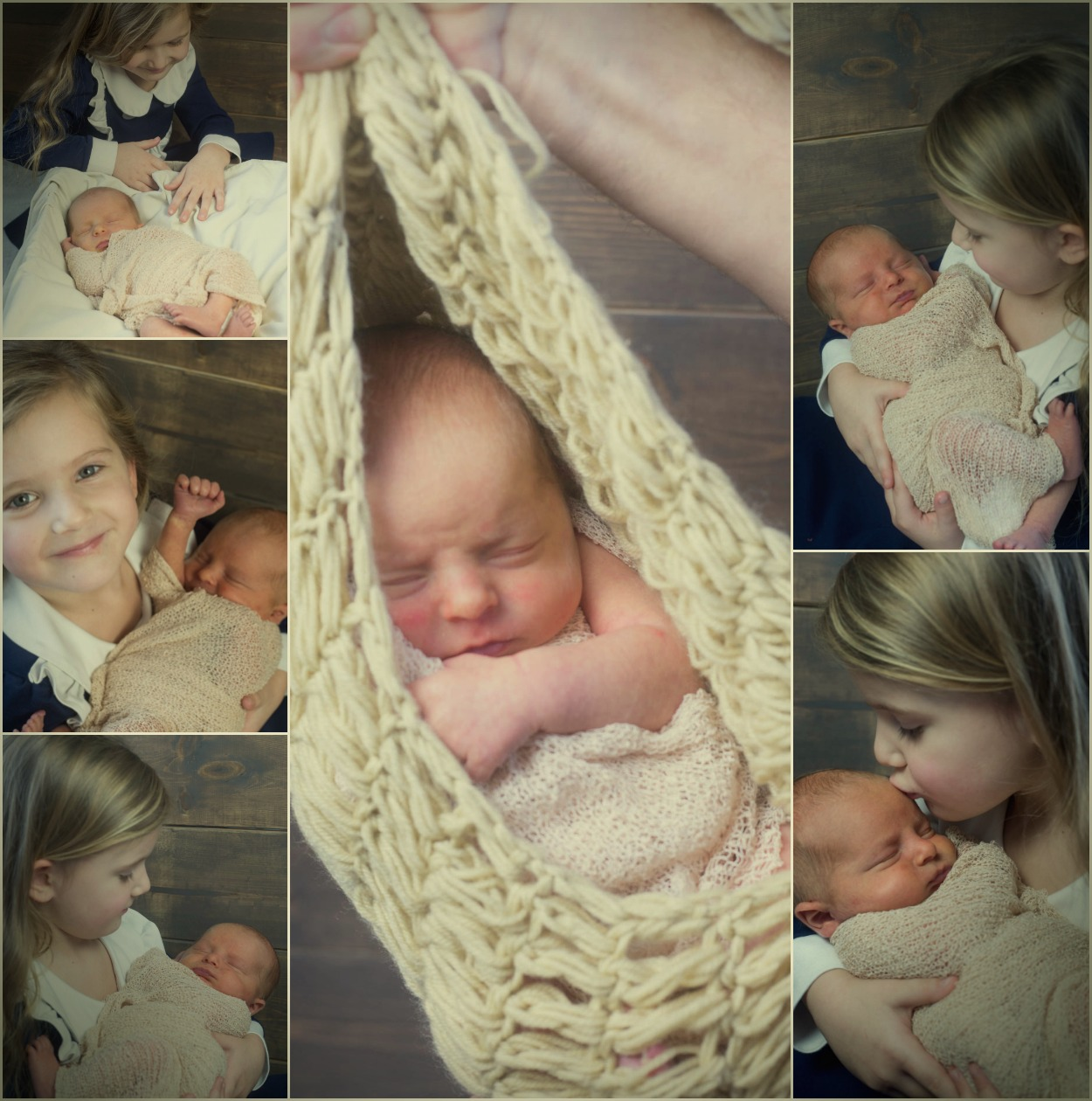 A collage of baby photos with a sibling.