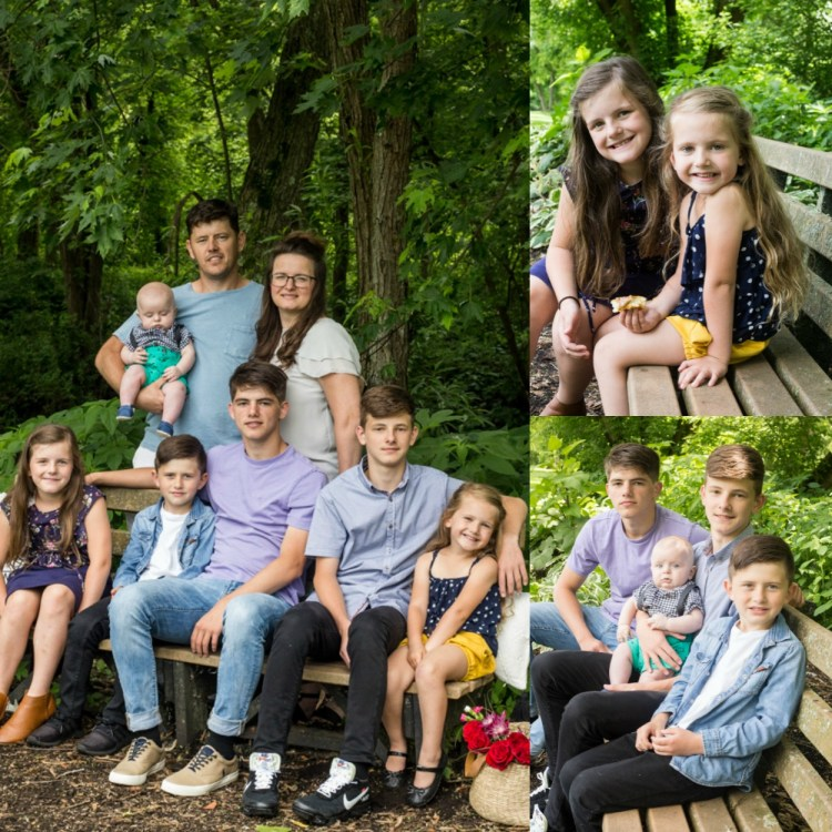 A collage of different family pictures at a park, on a park bench.