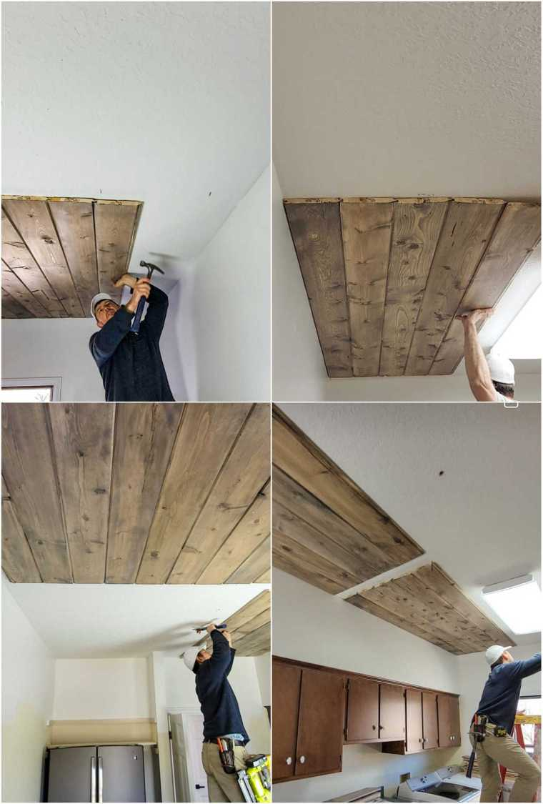 Step by step collage of how to make a DIY wood ceiling.