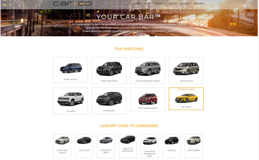 Car-ed Shopping quiz helps you chose the right car for your family.