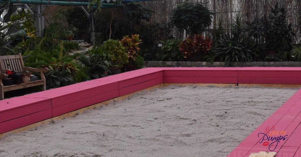 Inside sandbox for beach play philadelphia horticultural center