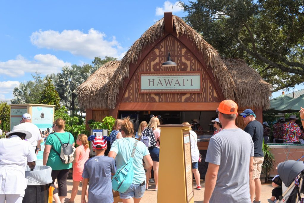 Epcot International Food and Wine Festival guest visiting the Hawaii Marketplace #tasteepcot