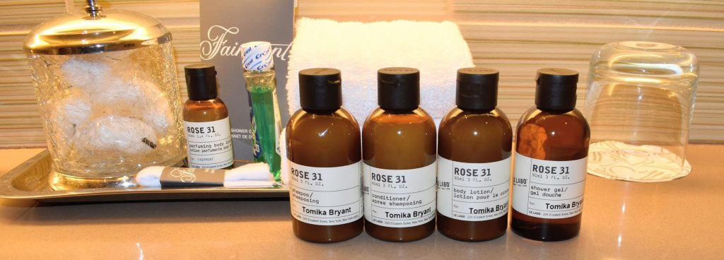 personalized Le Labo toiletries at the Fairmount hotel in Pittsburgh