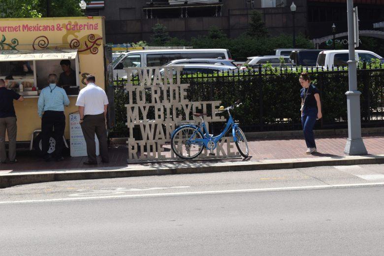 outdoor bike art Pittsburgh Fairmount hotel area solo travel