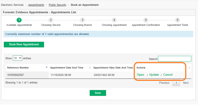 Change / Cancel the appointment