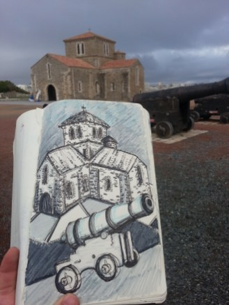 Drawing using baby blues and greys shows the cloister building in the background on a cloudy day