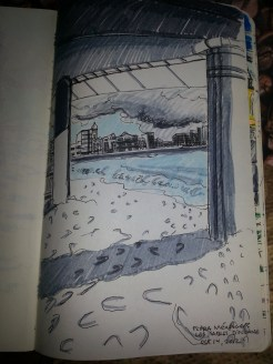 Drawing of Les Sables d'Olonne boardwalk and rising sea from under the pillars on a rainy day