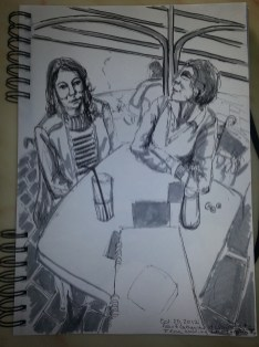 Grey-scale drawing done in marker and pen or Alex and her Mother sitting at a table on the day of wedding dress shopping
