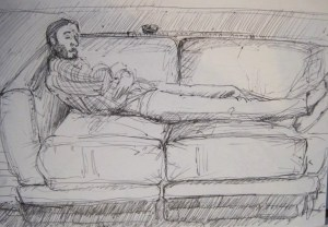 Loose pen drawing of bearded man reclining on a sofa after a thanksgiving dinner