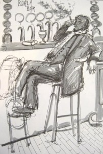 Drawing of well dressed man sitting alone in a fancy bar done in greys. He is reclining back into his bar stool while smoking a cigar.The drawing was done on sight in a bar in Prague, Czech Republic