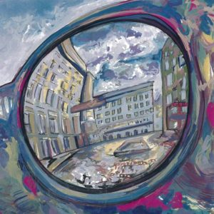 Colourful gouache painting of reflection of Ostrava in sunglasses statue