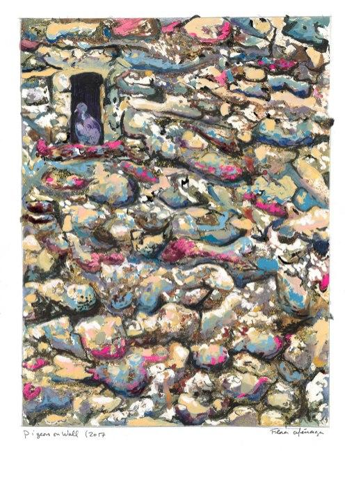 Pigeon-on-Wall---Gouache-2017