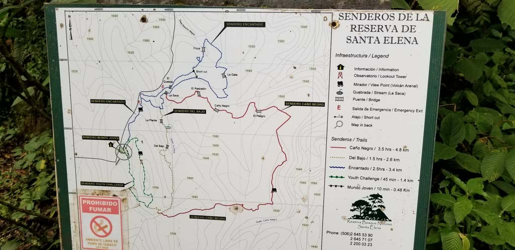 Map of Santa Elena trails