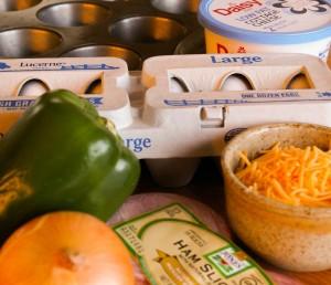 Ingredients for Denver Omelet Muffins