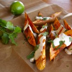Roasted Sweet Potato Wedges with Lime Yogurt Sauce