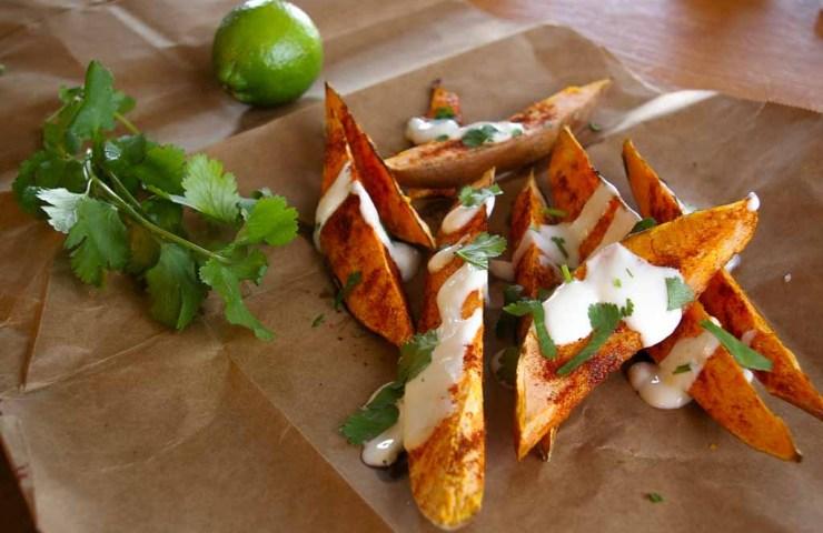 Roasted Sweet Potato Wedges with Lime Yogurt Sauce