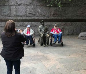 Veterans pose with FDR