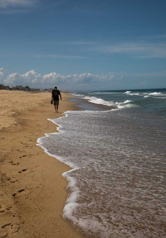 Walking along the beach on the outer Banks