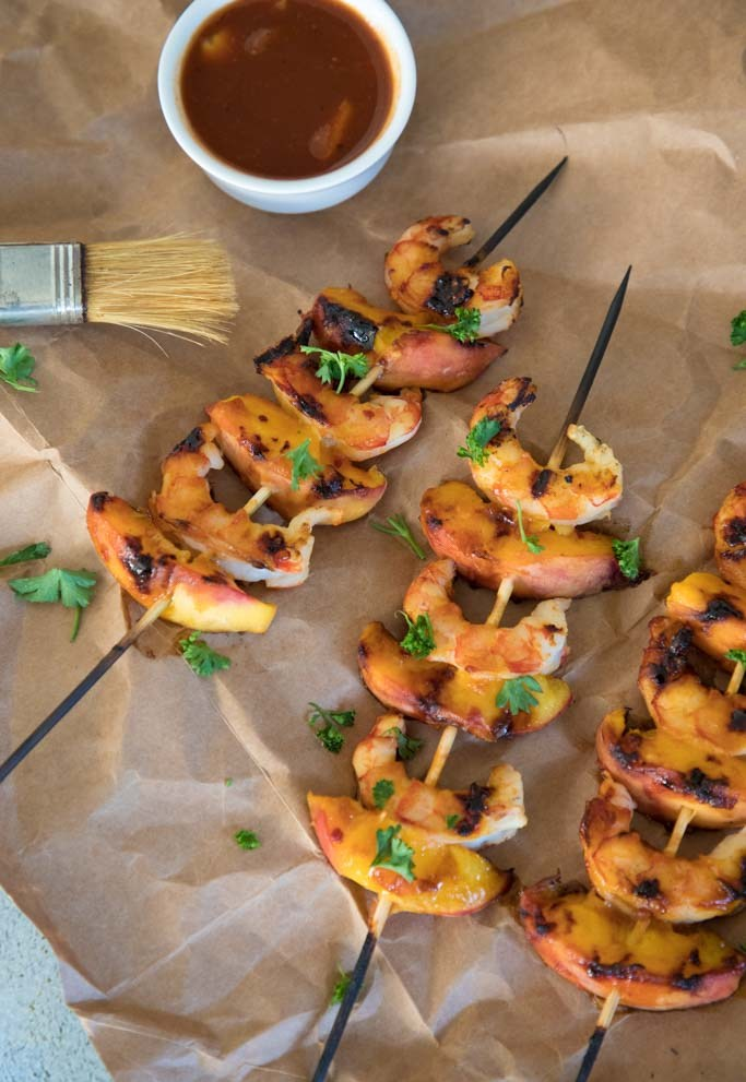 skewers of peach and shrimp