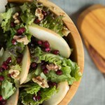 Salad Greens with Apple and Pomegranate Seeds