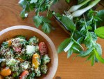 Wooden bowl filled with quinoa tabbouleh