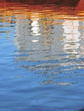 boat reflections Oswego River Lock 3