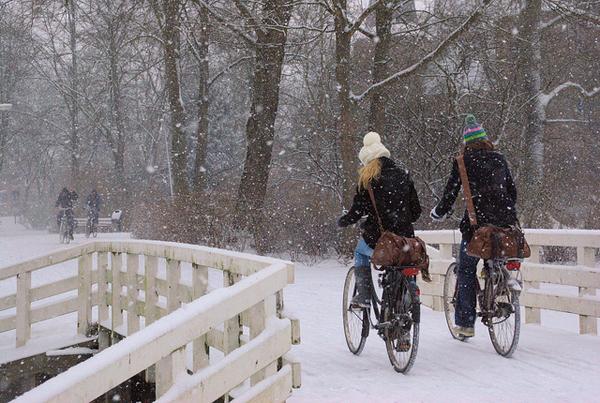 Biking in the snow