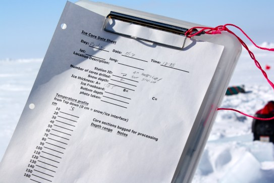 The types of information recorded in the field about each ice core we collect.