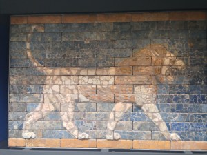 These lions lined the walls of the main entrance into Babylon.  The exiles, including Ezekiel, would have walked past them.  I've now seen these in three different museums in three different countries.  Their tie to our experience of exile and worldly power affect me every time.