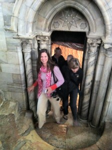 I'm coming out of the nativity crypt at the Church of the Nativity in Bethlehem. I'm not sure why I look so happy, because we moved through so quickly, I didn't even see it.