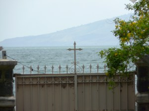 Looking at the Sea of Galilee from Capernaum.