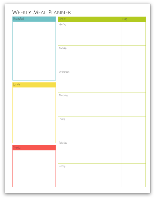 Printable Weekly Meal Planner at LifeInTheNerddom.com