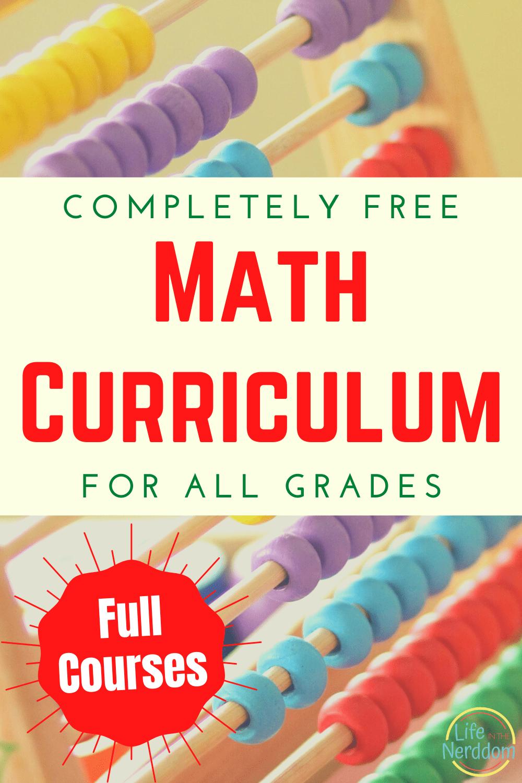 Free Math Curriculum for All Grades at LifeInTheNerddom.com