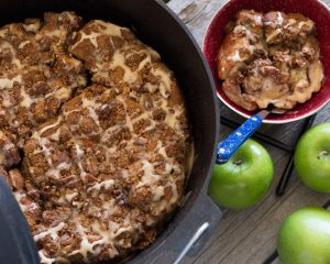 Camping Meals for Dinner and Dessert at LifeInTheNerddom.com - Dutch Oven Caramel Apple Pie Courtesy of Rhodes Bread