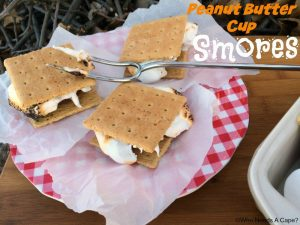 Camping Meals for Dinner and Dessert at LifeInTheNerddom.com - Peanut Butter Cup S'mores Courtesy of Who Needs a Cape?