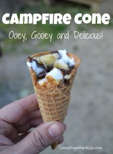 Camping Meals for Dinner and Dessert at LifeInTheNerddom.com - Campfire Cones   Courtesy of Come Together Kids