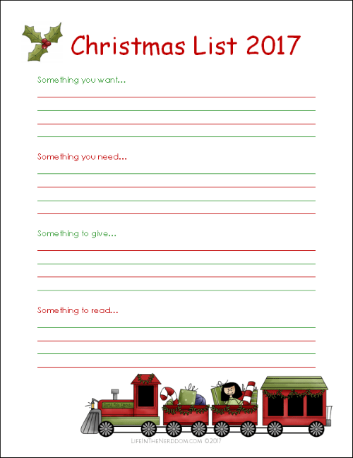 Free Printable Christmas List for Kids  Life in the Nerddom