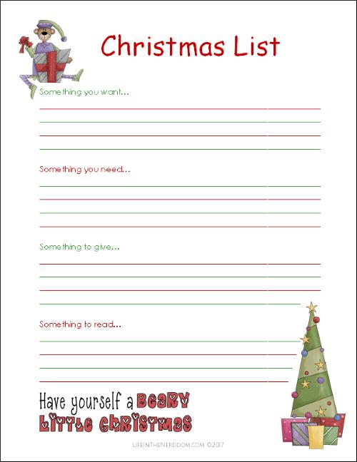 Printable Christmas List at LifeInTheNerddom.com