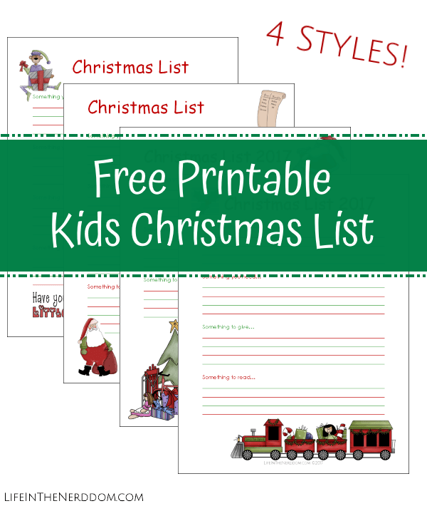 picture about Printable Christmas identified as Free of charge Printable Xmas Listing for Little ones - Existence within the Nerddom