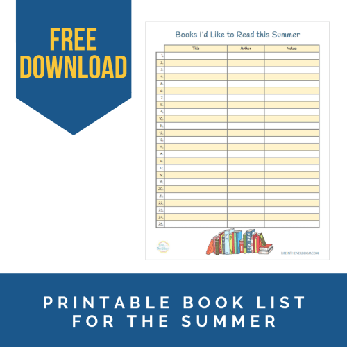 Free Printable Book List for Summer Reading at LifeInTheNerddom.com