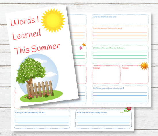 Summer Reading Vocabulary Journal