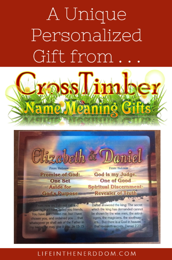 A Unique Personalized Gift from CrossTimber Name Meaning Gifts at LifeInTheNerddom.com