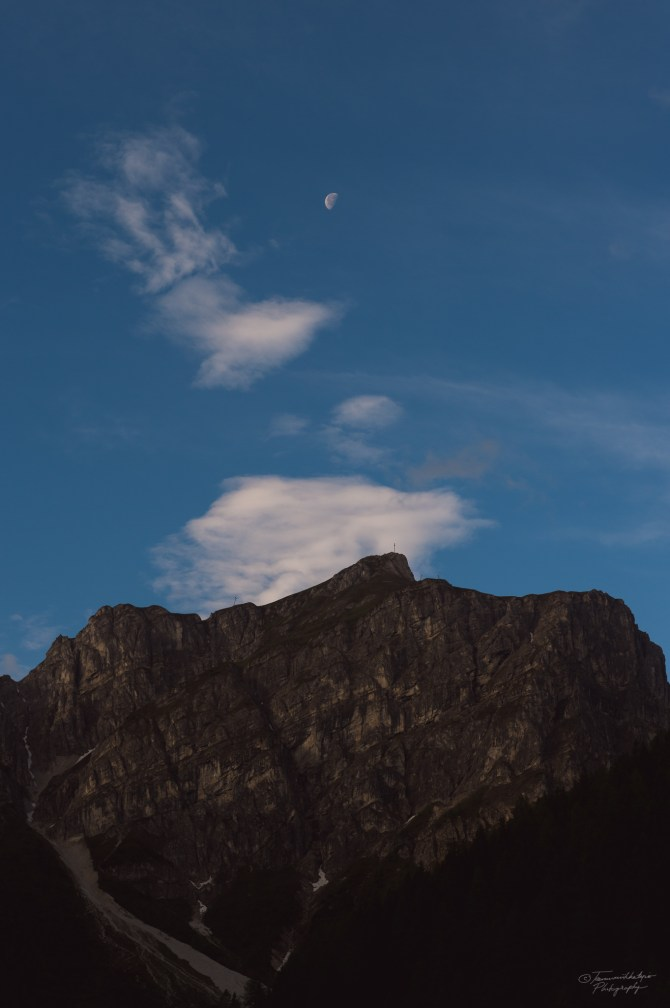 When I got down the sun was already up but the moon was high above the mountains as well.
