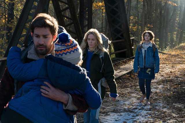 John Krasinski, Noah Jupe, Emily Blunt, and Millicent Simmonds - tip-toeing to survive