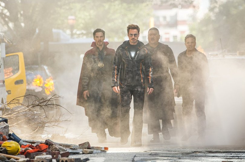 Benedict Cumberbtach, Robert Downey Jr., Mark Ruffalo, and Benedict Wong face a stoney villain