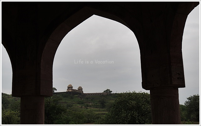 Mandu View of Roopmati Pavilion from Baz Bahadur Palace