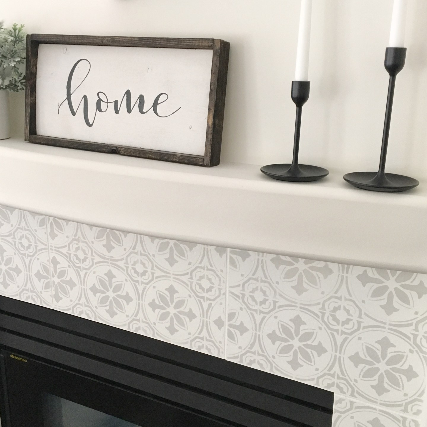 Stenciled Tile DIY Fireplace Makeover