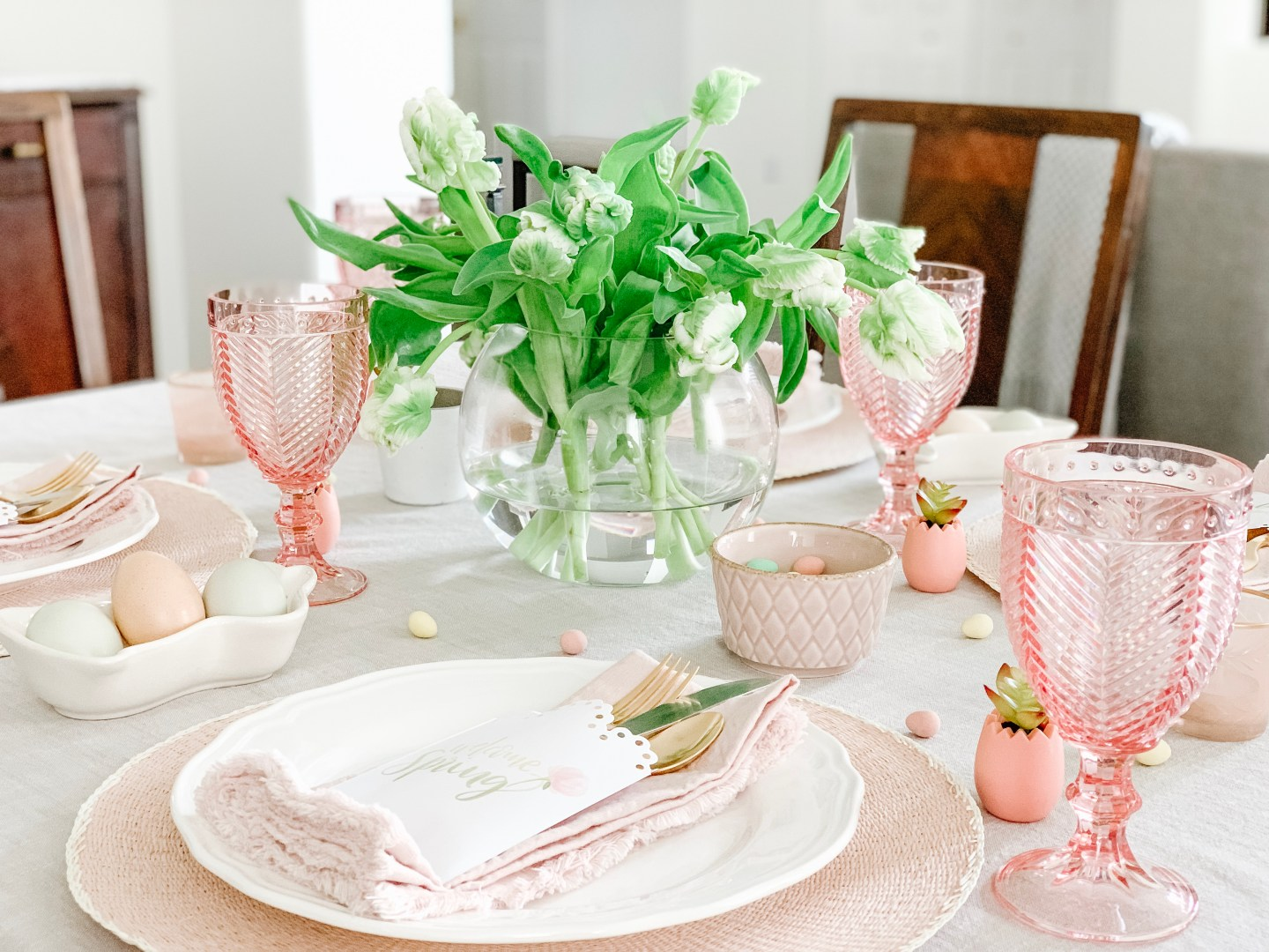 Pretty Pink Easter Table Setting