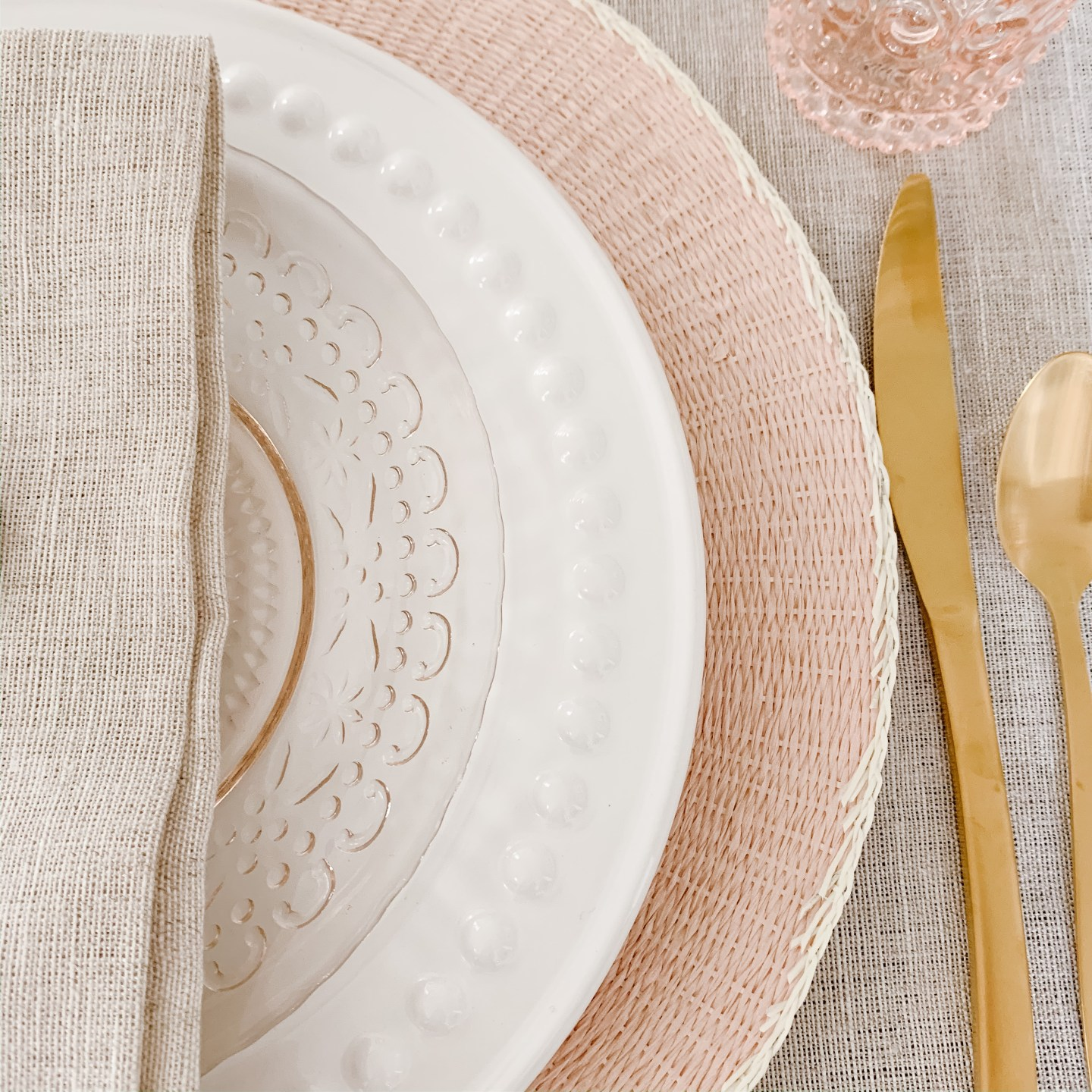 romantic boho valentine's tablescape