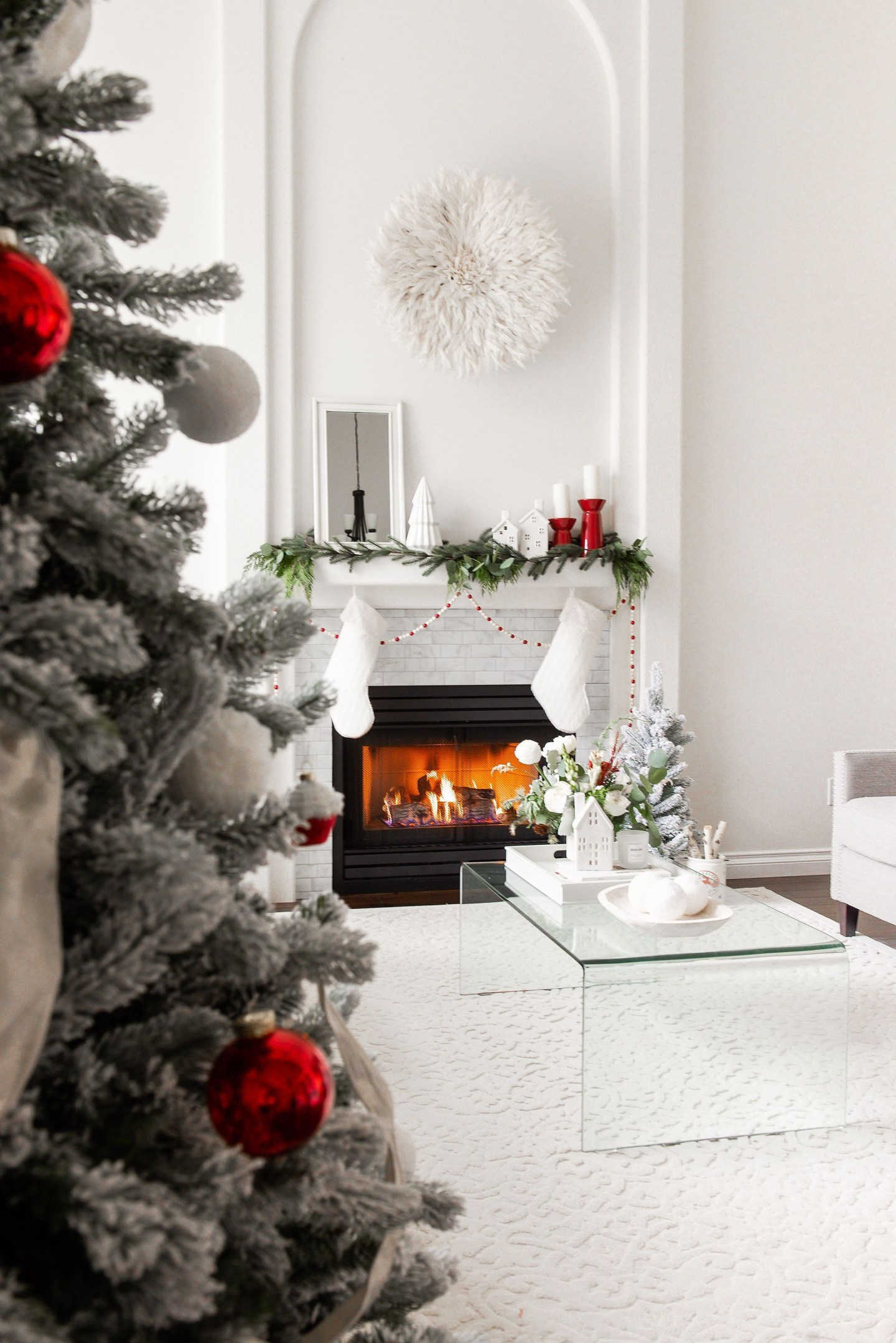 and I'm excited to share My Classic Christmas Mantel with White and Red!